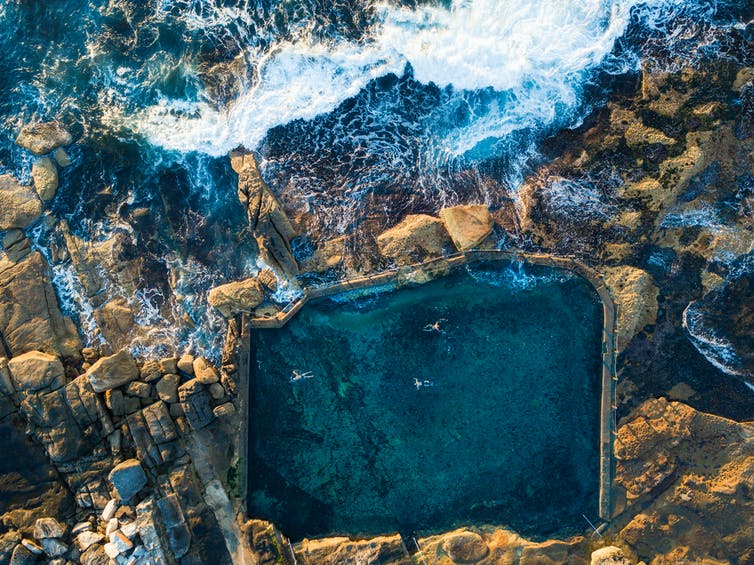 An aerial shot of an ocean pool.