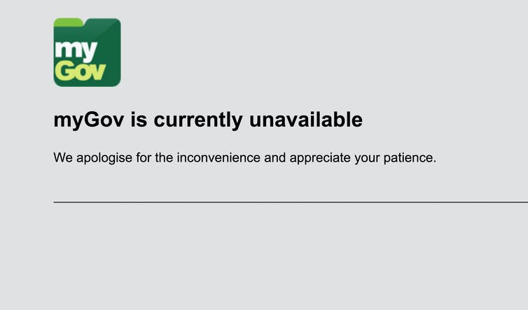 Screenshot of MyGov portal having crashed.