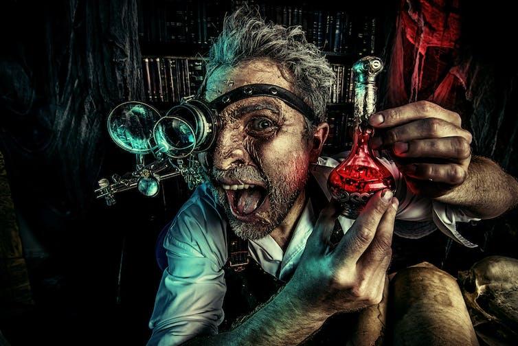 Ilustración oscura de un científico fuera de sí.