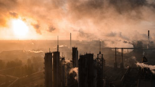 Industrial chimneys and smoke