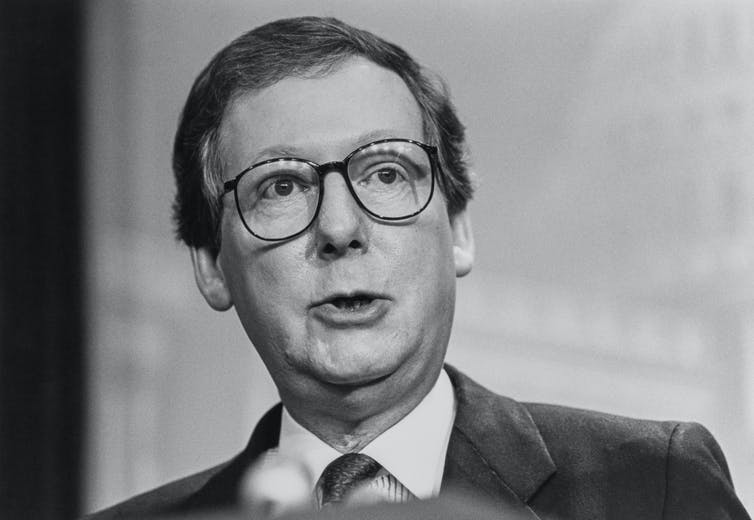 Black and white image of a younger Mcconnell
