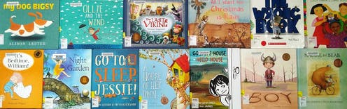 Front pages of CBCA Book of the Year Early Childhood shortlisted books across the years.
