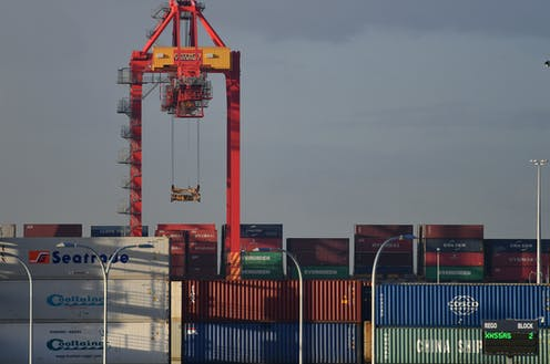 Shipping containers stacked up at Port Botany