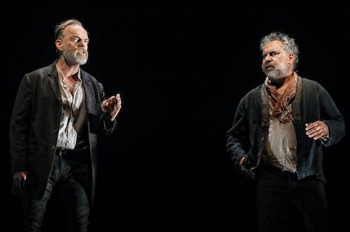 Hugo Weaving and Wayne Blair on stage