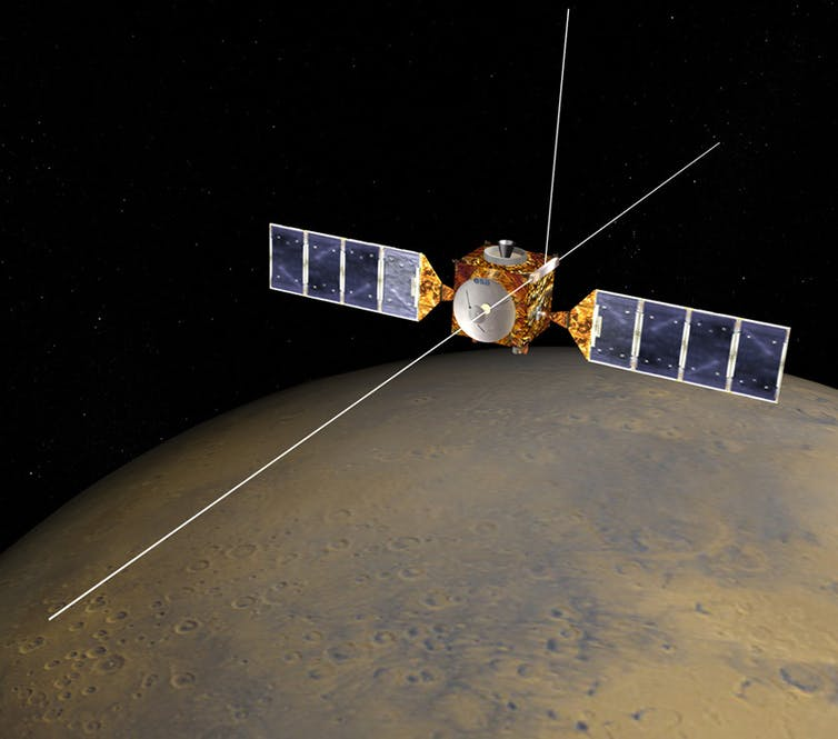 An illustration of a satellite with Mars in the background.