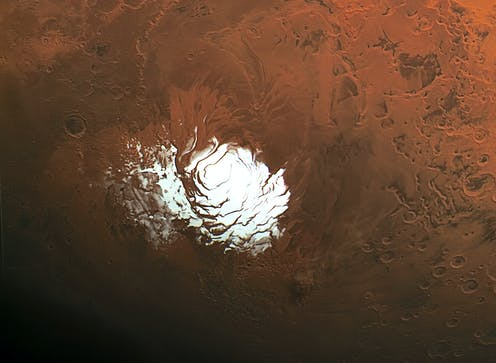A satellite view of the South Pole of Mars, showing the ice cap.