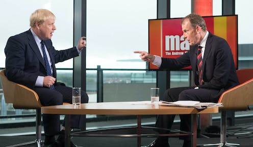 Still image from the Andrew Marr TV show with PM Boris Johnson and journalist Andrew Marr.