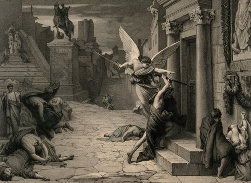 The Angel of Death, surrounded by ailing Romans, strikes a door.