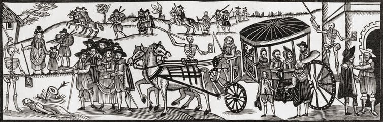 City dwellers flee the city to the countryside to escape the bubonic plague.