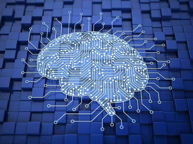 A printed circuit board in the shape of a brain