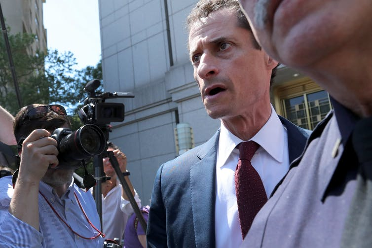 Anthony Weiner leaves court on May 19 201.
