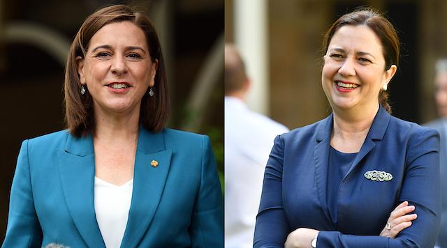 Queensland LNP opposition leader Deb Frecklington and incumbent ALP Premier Annastacia Palaszczuk