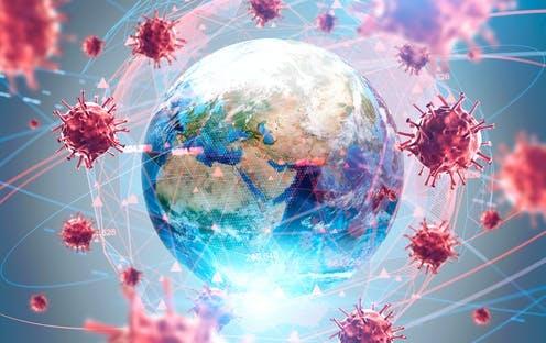 Dunia dikelilingi oleh partikel virus corona.