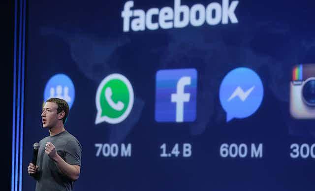 Facebook founder Mark Zuckerberg on stage.