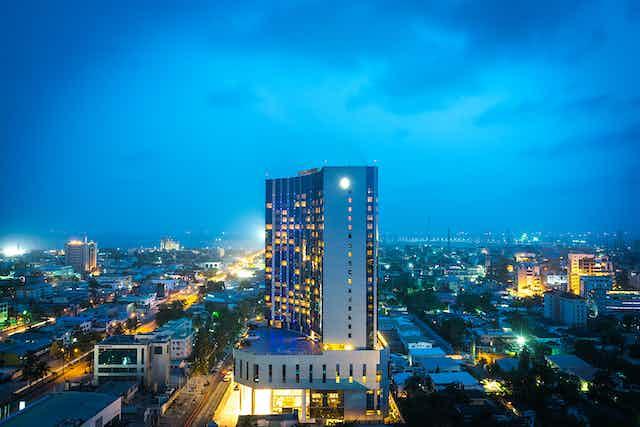 Lagos' Victoria Island at night