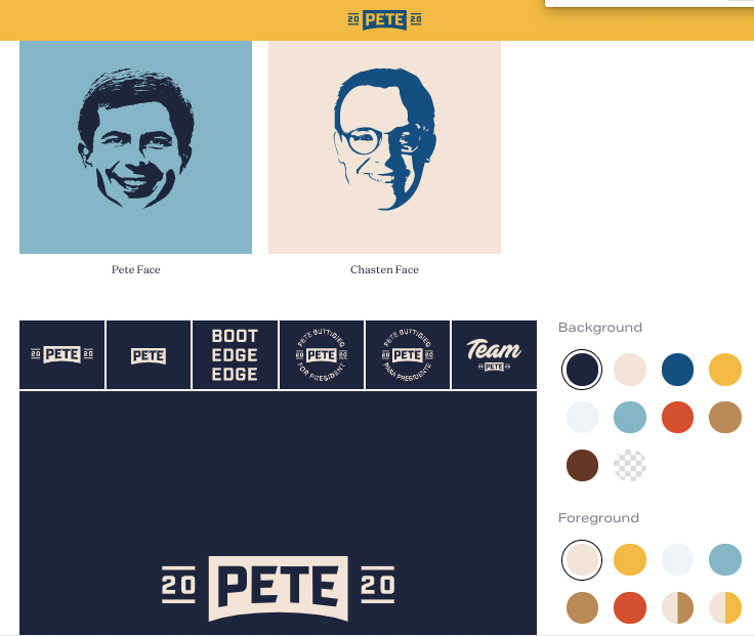 A screenshot from the Pete Buttigieg campaign's design toolkit