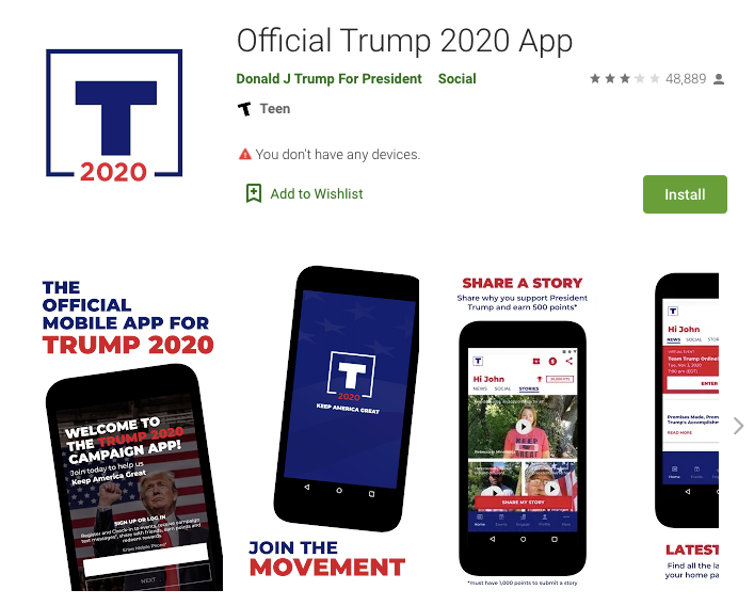Download page for the Trump app.