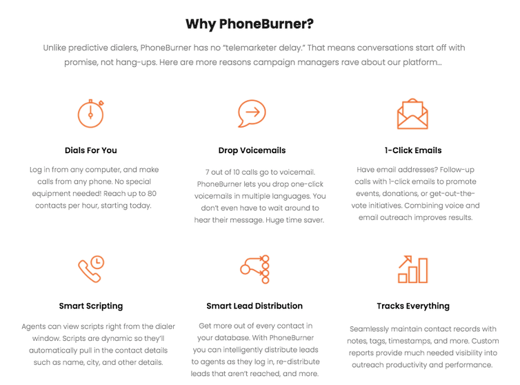 Screenshot of marketing for PhoneBurner, whose tagline is 'Political Dialing Made Easy.'