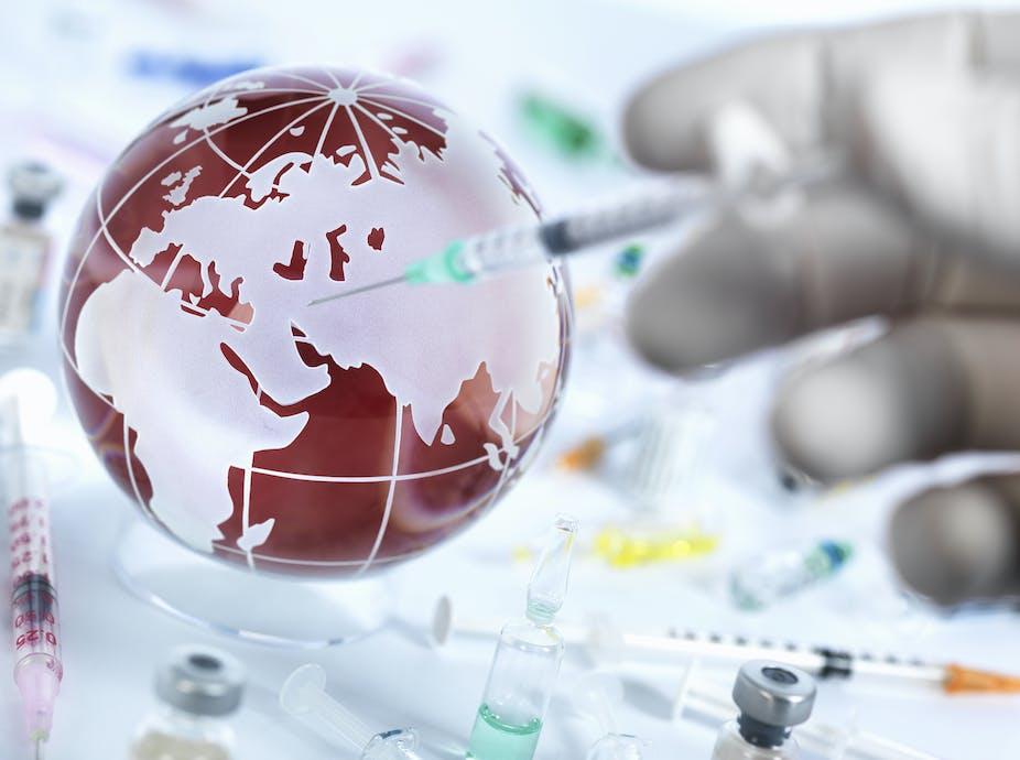 Globe with syringe