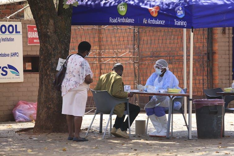 A coronavirus testing station in Harare, Zimbabwe