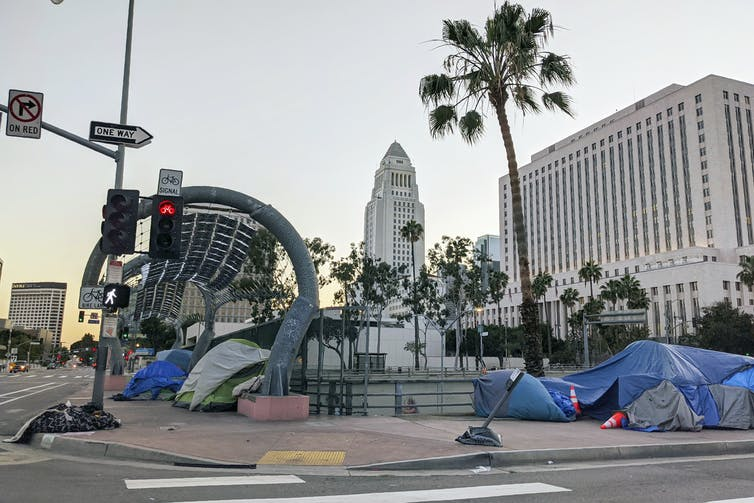 A collection of tents in a park near Los Angeles city hall.