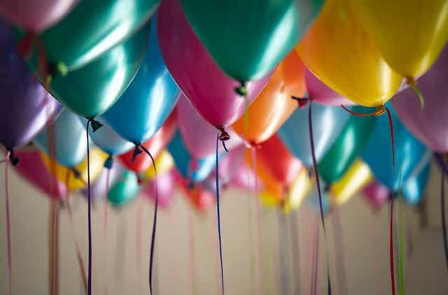 Coloured balloons inside