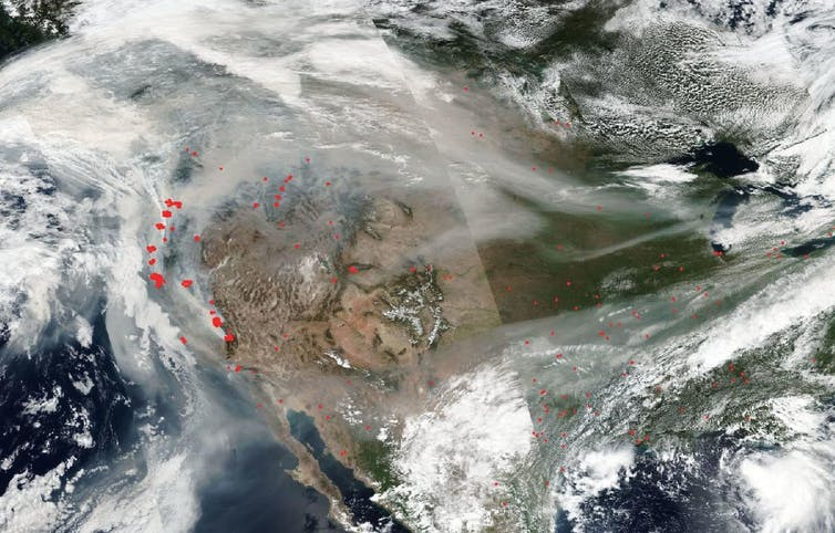 Satellite image of smoke from wildfires.