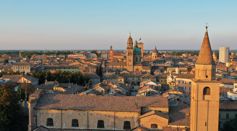 Aerial view of the city of Reggio Emilia.