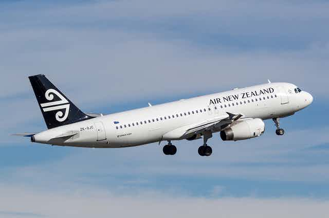 Air New Zealand plane in the sky