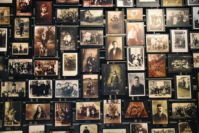 Photos of deported Jews at the Holocaust Memorial Museum in Washington DC.