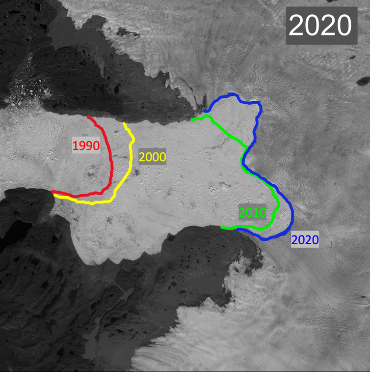 A map showing the extent of glacial retreat since 1990.