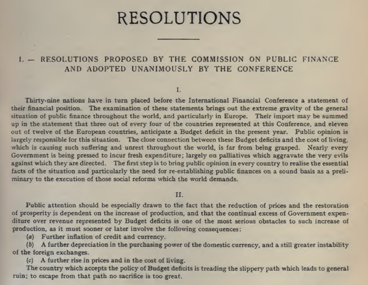 Resolutions of the Brussels International Financial Conference 1920.