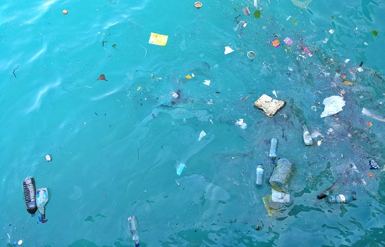 Plastic waste floating in the ocean