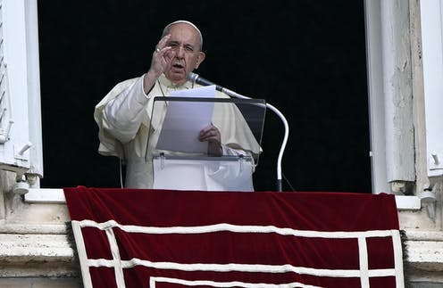 Pope Francis leads his Sunday Angelus prayer from the window of his office overlooking Saint Peter's Square, Vatican City, Italy, 04 October 2020.