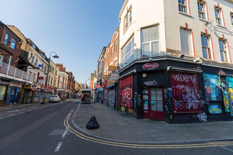 An empty street in London.