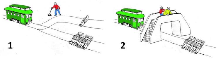 Las dos variantes del dilema del tranvía.Gráficos modificados por el autor a partir de originales publicados en Medium.