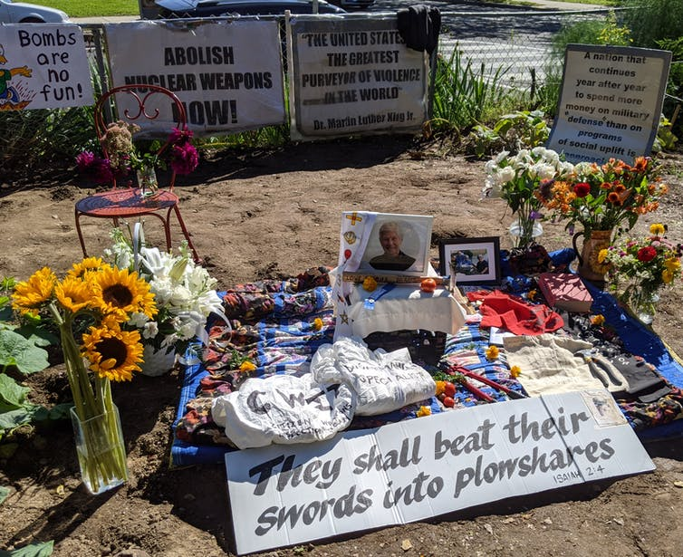 Sister Ardeth Platte's memorial at the Dorothy Day Catholic Worker House