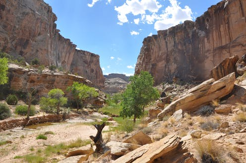 View through canyon area in Utah