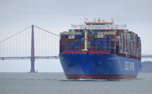 Chinese exports head to the Port of Oakland in San Francisco Bay.