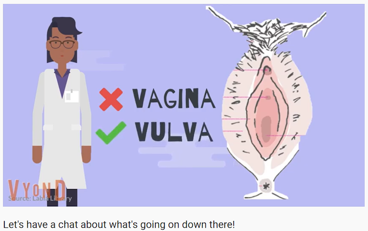 A screenshot of the educational video, that shows what is commonly referred to as