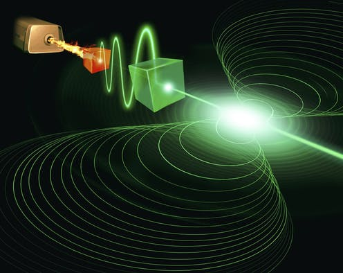 The laser wants a revolution. Imagine all the photons leave the device in phase. Power to the photons right on the left.