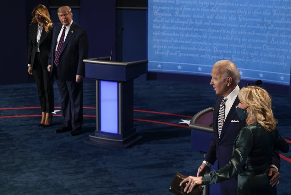 First Lady Melania Trump, US President Donald J. Trump, Democratic presidential candidate and former Vice President Joe Biden, and his wife Jill Biden after the first presidential debate.