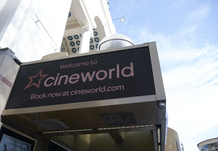 Cineworld sign, Leicester Square, London