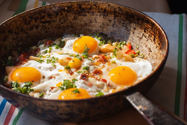 Fried eggs in a pan.