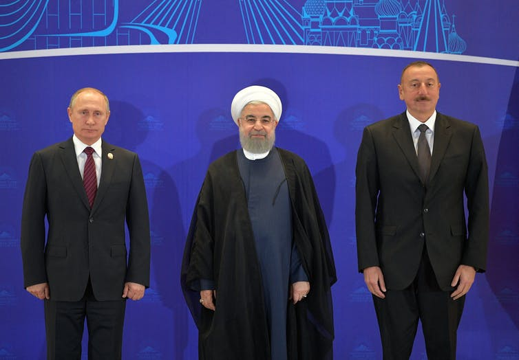 Vladimir Putin, Hassan Rouhani and Ilham Aliyev.