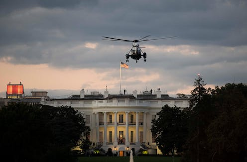Donald Trump's helicopter landing at the White House