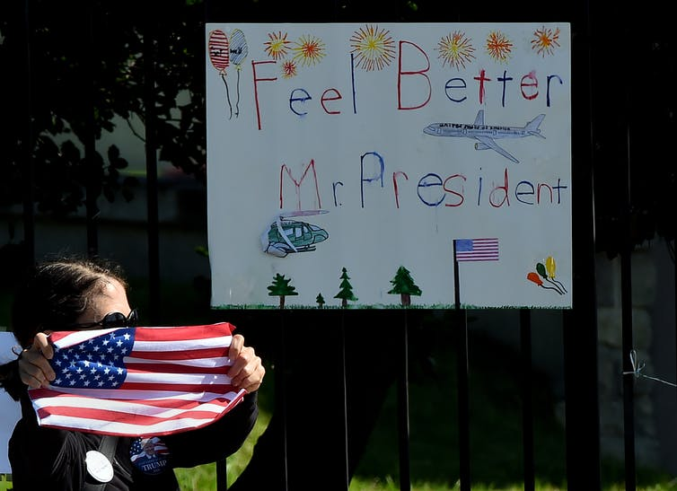 handwritten 'Feel Better Mr. President' sign