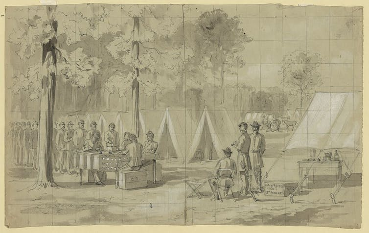 Pennsylvania soldiers voting in the presidential election of 1864 in their camp.