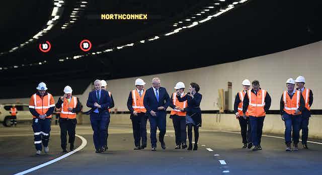 Australian prime minister Scott Morrison tours NorthConnex site.