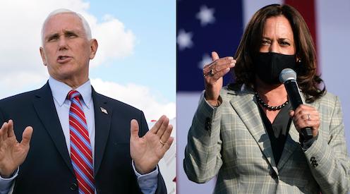 Vice President Mike Pence and Democratic Vice Presidential candidate Senator Kamala Harris